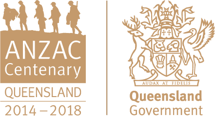 Anzac Centenary Logo locked with Queensland Government Logo